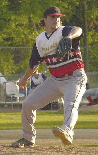 Nick Polsinelli pitches for the Amsterdam Mohawks during a July 24 exhibition game against the USA Military All-Stars at Shuttleworth Park.