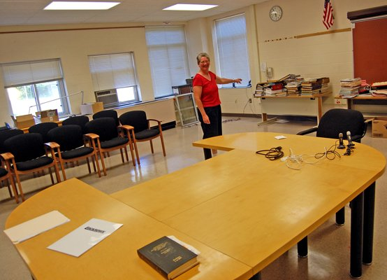 Dannemora Village Clerk Donna Clark stands in the newly-renovated space for the village court at the new village office building at 40 Emmons St. The court is among the village offices that have moved to the former Dannemora Elementary School building.