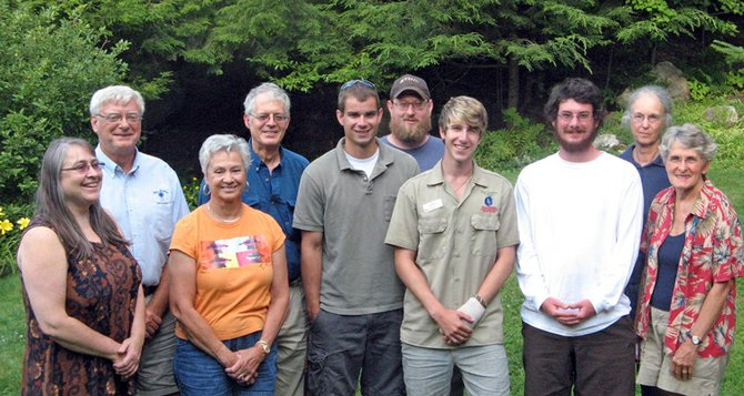 As part of the effort to eradicate invasive Japanese knotweed regionally, program participants met August 5. From left to right   are: Elizabeth Mangle, Avery Menz, Terry DeArmas, Doug Johnson, Brendan Quirion, Ryan Burkum, Jaden Aronow (lake steward), Gregory Cerne (Paul Smiths lake steward), Evelyn Greene and Ellen Collins.