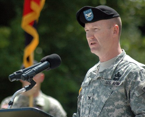 Colonel Curt J. Ryan, Brigade Commander of the 10th Sustainment Brigade of the 10th Mountain Division, addresses soldiers and veterans during the 10th Mountain Division Memorial Ceremony Aug. 3 at Whiteface Mountain.