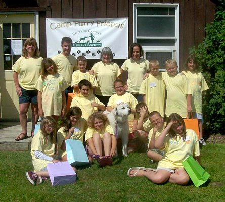 Rutland's Camp Furry Friends: Staff, volunteers, camp attendees, and Maddie the dog at last month's camp session.