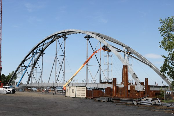 The arch of the new Champlain Bridge is being constructed in Port Henry, N.Y. and will be floated to the bridge site later this month.