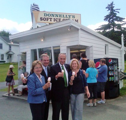 Senator Elizabeth O'C Little; James McKenna, Lake Placid CVB/Regional Office of Sustainable Tourism; Sen. Schumer; and Sen. GIllibrand stop for ice cream at regional favorite Donnelly's Ice Cream stand on Friday afternoon after a roundtable discussion in Lake Clear on Friday afternoon.