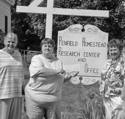Penfield Homestead Museum was the recipient of a grant awarded by the National Society Daughters of the American Revolution.  The Special Projects grant will be used to publish an historic guide of Crown Point prior to the 225th anniversary of the town incorporation in 2013. From left are Gayle Gallant, Vice-Regent Ticonderoga Chapter NSDAR; Kama Lee Ingleston, Penfield Homestead Museum trustee and treasurer; and Margaret Scuderi, Regent Ticonderoga Chapter NSDAR.