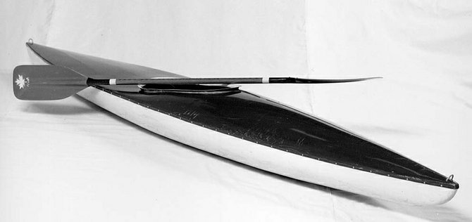 This kayak was used by Robert F. Kennedy in May 1967 on the Hudson River near North Creek.