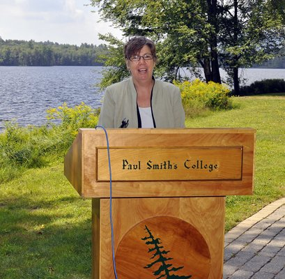 U.S. Environmental Protection Agency Regional Administrator Judith Enck visited Paul Smith's College Aug. 19 to announce a $300,000 grant for the Adirondack Watershed Institute's Watershed Stewardship Program. Lower St. Regis Lake is in the background.