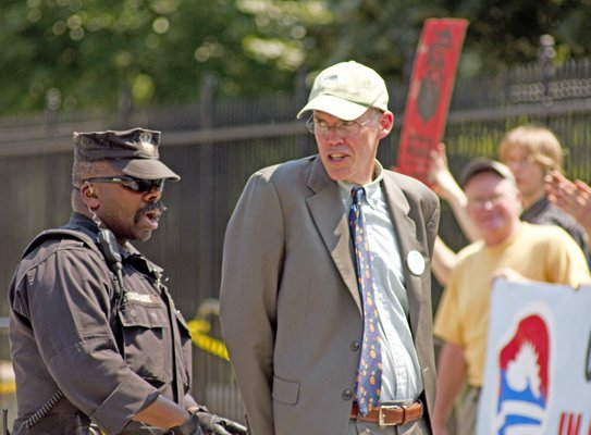 Bill McKibben is cuffed at the White House when protesting a planned 2,763-mile oil pipeline connecting Alberta, Canada to Texas.