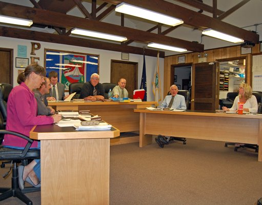 The Peru Town Council discussed accounting problems at its Aug. 22 meeting. From left to right are: Council Member Susan Polhemus, Council Member Kregg Bruno, Town Attorney Donald Biggs, Supervisor Peter Glushko, Council Member Brandy McDonald, and Council Member James Douglas.