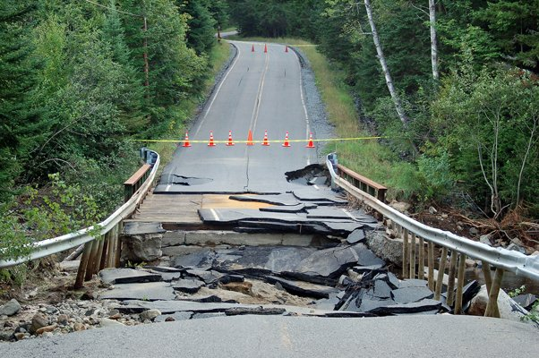 The washout on Adirondack Loj Road, which is the only access to the Adirondack Mountain Club's Adirondak Loj.