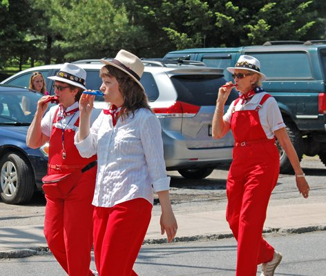 Members of the Long Lake Ladies Kazoo Band entertain for the public during the 2011 Memorial Day festivities in Long Lake.
