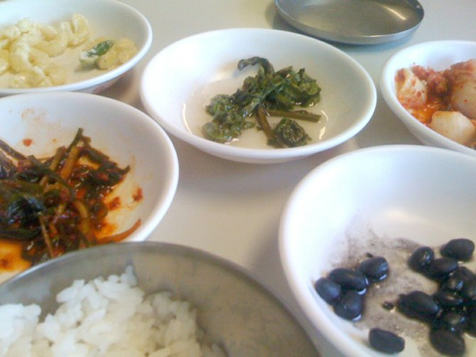 """Banchan"" served at Chorong House includes the very un-Korean macaroni salad with homemade mayonnaise."