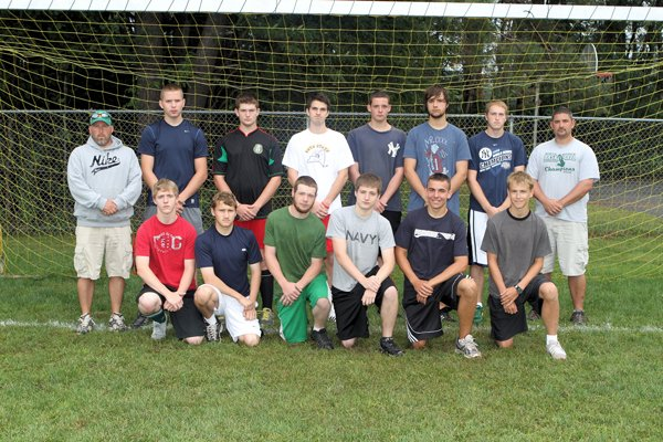 The 2011 North Warren High School Boys Soccer Team includes (front row, left to right:) Justice Parker, Elijah Hammond-Wood, John Belline, Terry Young, Dan Hill, Chase Cortez, (row 2): coach Jason Humiston, Benn Frasier, Robert French, Karl Brugger, Jacob Hill, Ryan Otruba, Kristian Seeley and coach Jeremy Whipple. (Absent): Ethan Schenke and Robert Vaisey.