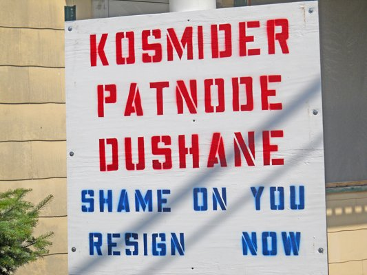 Signs in Crown Point call for the gang of three Supervisor Bethany Kosmider and trustees Yvonne DuShane and Bob Patnode  to resign following their vote to eliminate the elected board of assessors in favor of a sole, appointed assessor.