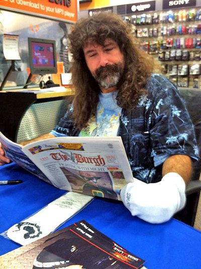 Comedian and professional wrestling personality Mick Foley, seen here during his last visit to Plattsburgh, will return to Therapy Nightclub and Sports Lounge this Sunday, Sept. 25, for his second stand-up comedy show.