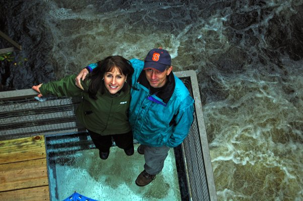 High Falls Gorge Owner Kathryn Reiss and Northwoods Engineer Joe Garso stand on the glass platform over the Au Sable River after a ribbon-cutting ceremony on Oct. 1.