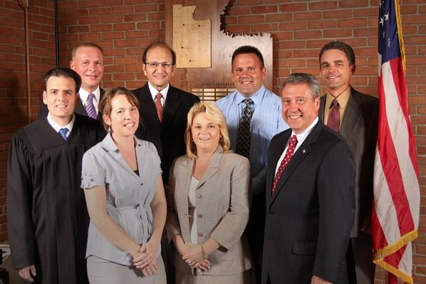In front, from left: Town Justice Sal Pavone, Town Clerk Allison Edsall, Councilor Sandy Schepp and Town Supervisor Ed Theobald. In back, from left: County Legislator Kevin Holmquist, Councilor Nick Marzola, Highway Superintendent Robert Cushing and Councilor John Loeffler. All are candidates up for re-election who have been endorsed by the local GOP.