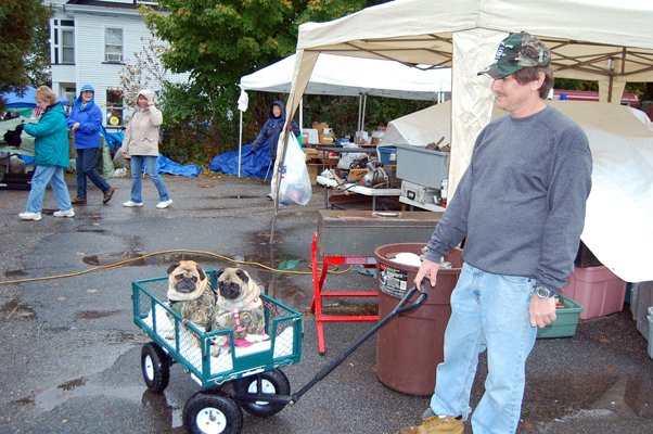 Patrick Noonan of East Naseau, pulls his two pugs, Taylor and Tanya, around Warrensburg. 