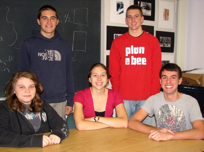 Baker High School seniors Sean Honsinger, back left, Nathan Porceng, back right, Nicole Felty, front left, Emily Payne, front center, and Nicholas Welch have been named Commended Students in the 2012 National Merit Scholarship Program by the National Merit Scholarship Corporation.