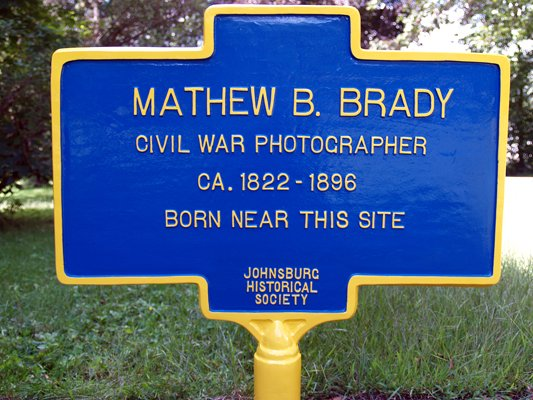 This new historical marker at the Wevertown Community Center marks the hamlet as the birthplace of Mathew Brady, famed Civil War photographer.