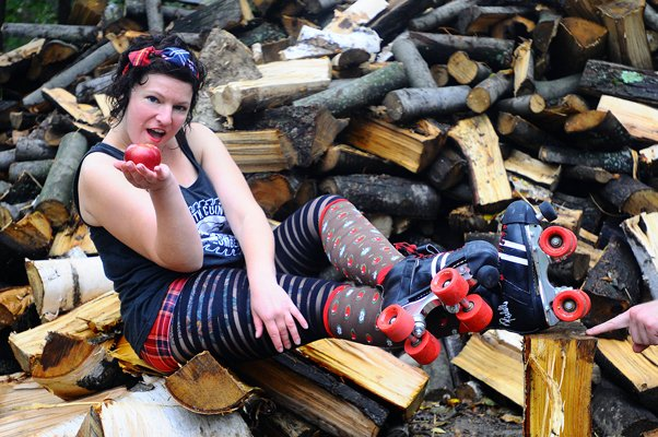 "Erin McGill, A.K.A. ""Teachy McKill,""is among the members of the North Country Lumber Jills roller derby team preparing for a bout against the Twin City Riots this Saturday, Oct. 29."