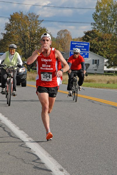 "Tony Casey of Saranac, seen here, placed first in the first annual Octoberfest Half-Marathon held in Peru Oct. 15. The event was held in memory of Robert ""Chip"" Hamilton, who passed away in January following complications from a lung transplant."