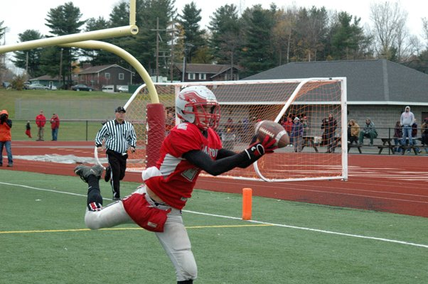 Beekmantown receiver Luke Weaver reaches out for a touchdown grab against Saranac Oct. 29.