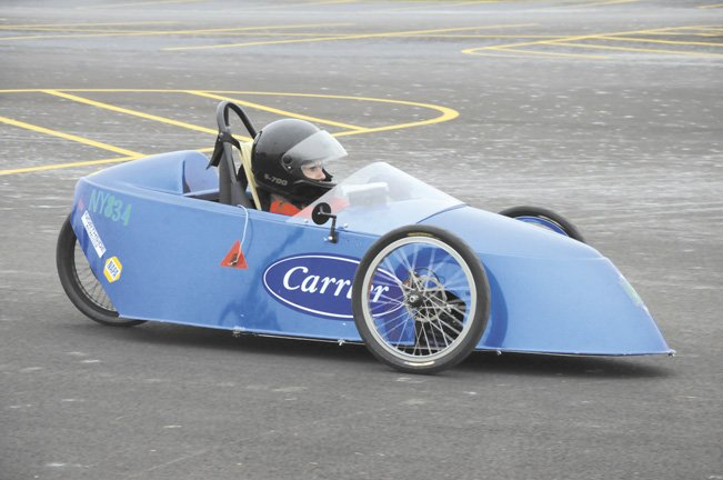 Cicero-North Syracuse&#39;s hydrogen fuel cell car gears up for the race  Saturday, Oct. 29 in the parking lot at Carrier Corp. in DeWitt. C-NS&#39; car completed 72 laps on a charge, earning the team second place among six competing teams.