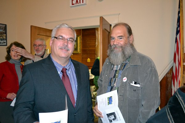 Ron Vanselow and Johnsburg Town Supervisor Sterling Goodspeed attended the Mathew Brady marker dedication Nov. 10 at the Wevertown Community Center.