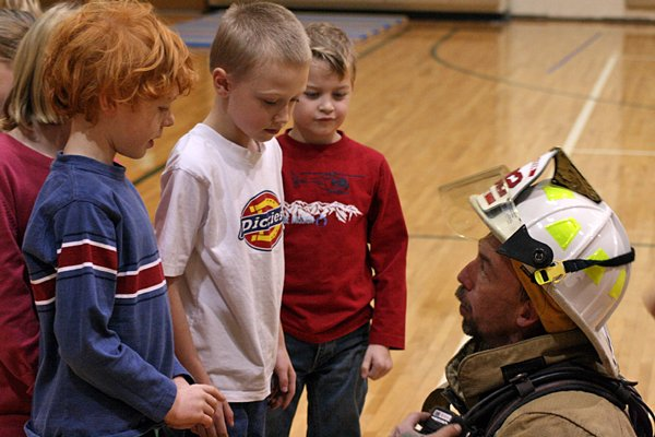 Firefighters visited elementary students at Minerva Central for a fire safety talk Oct. 24.