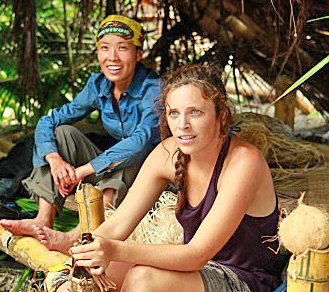 Sophie Clarke with fellow competitor Edna during the show, 'Survivor.'