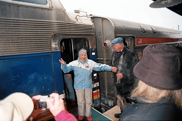 "Frederica ""Freddie"" Anderson, 90, disembarks the first ski train to return to North Creek in decades. Anderson is a Schenectady-are ski instructor who rode the very first ski train to North Creek in 1934."