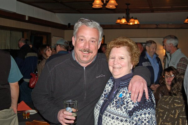 ARISE Chairman Jim LaValley and Assemblywoman Janet Duprey, R-Peru, have fun during the Jan. 20 party at the Park Restaurant in Tupper Lake, celebrating the Adirondack Park Agency's approval of the Adirondack Club and Resort project.