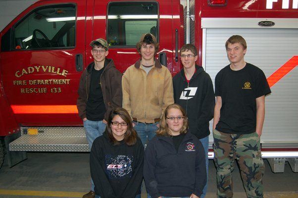 Paying it forward.  Members of the Cadyville Jr. Firemen program are (front from l-r) Taylor Duquette and Katie Downey, and back (l-r) Dylan Spellman, Danny Williams, Kellen Louis and Greg Carrow.