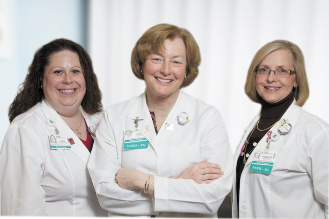Pictured are Crouse Breast Health Center's team of breast health navigators Laura Rose, RN, Mary Butler, RN, and Margaret Bottino, RN.