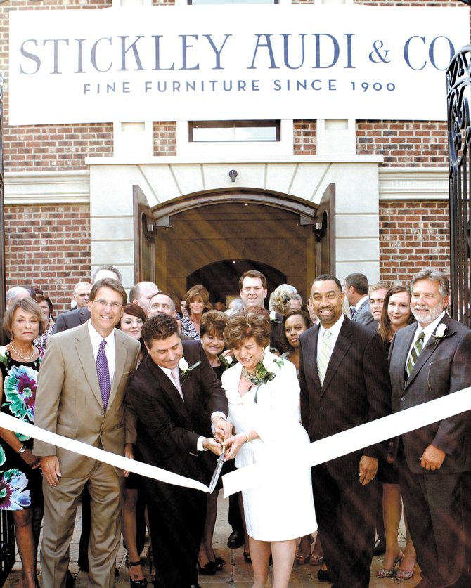 The ribbon cutting for L. & J.G. Stickley's  new Charlotte showroom.