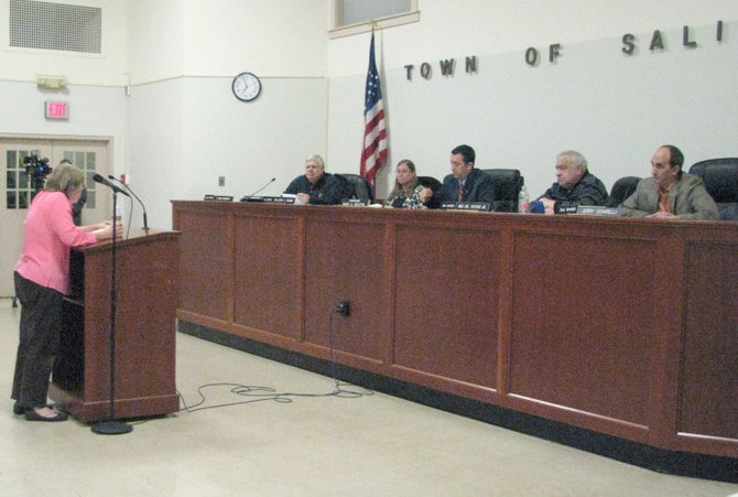 Linda Young of Kitty Corner, a cat rescue organization in Liverpool, speaks to members of the Salina Town Board regarding the town's cat law at the town board meeting Monday, Feb. 13. Several residents spoke against the law at the meeting.