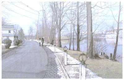 Pictured is a rendering of River Street in Baldwinsville (prior to the village completing the project), which was presented by Environmental Design and Research, a firm that helped officials with waterfront redevelopment in the village of Baldwinsville. The village will complete Village Square and the Southshore East Trail, two of the final components of the overall redevelopment plan, this summer.