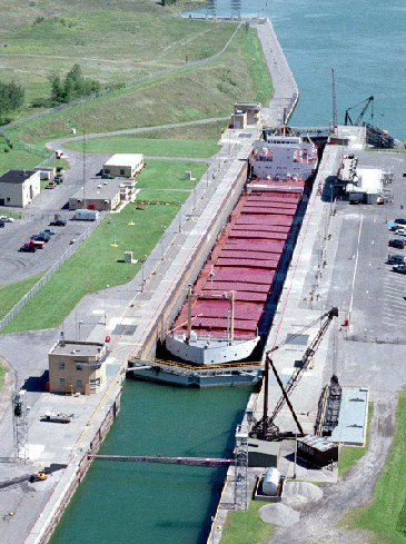 The Eisenhower Locks of the St. Lawrence Seaway in Massena. New York is pushing for tougher ballast regulations to help stop the spread of invasive species in New York waters.