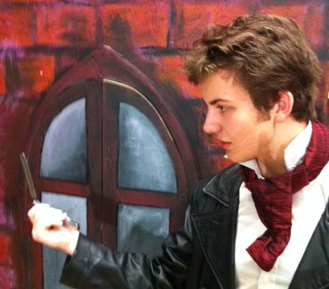 "Matt Noll, a junior, plays the murderous barber in Baker High School's production of ""Sweeney Todd."""