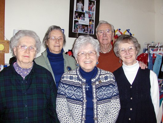 The North Country Ministry is in its 20th year. Pictured here are, left to right, Alice Damp, Mary Moro — the first board president, Sister Fran Husselbeck — founder, Larry Carr and Patricia Carr. These members were all involved since the beginning of the Ministry.
