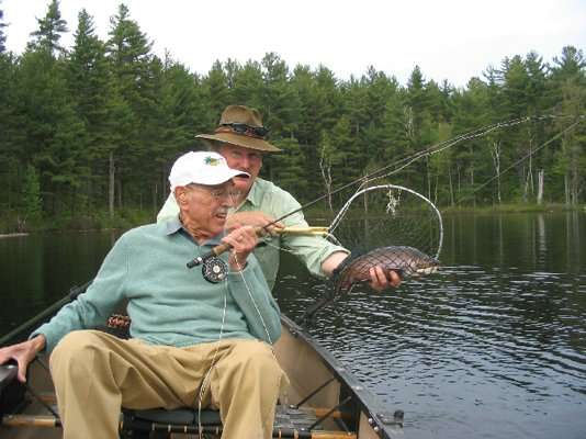 """Finally, the big brookie was in the net."""
