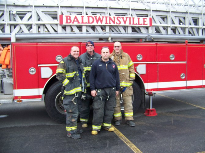 Members of the Baldwinsville Volunteer Fire Company recently helped out at the YMCA rally held at Smokey Hollow Plaza in Baldwinsville. Volunteers are a vital component in keeping all the fire departments covering the Greater Baldwinsville area in service. These departments include the BVFC, Belgium Cold Springs, Cody, Lysander, Plainville, Seneca River, Warners, Memphis and Lakeside fire departments, as well as Enterprise Fire Company in Phoenix.