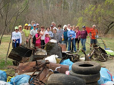 CATS volunteers cleaned up the Cheney Mountain Trailhead on Earth Day.