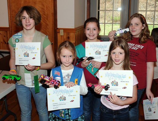The Southern Essex County Girl Scouts held their first Powder Puff Derby recently. Winners were Jordyn Borho, first place; Maggie Fox, second place; Andrea Cooke, third place; Samantha Hayes, best in show; and Emily Powers, most original.  The best in show and most original awards were voted on by the scouts.