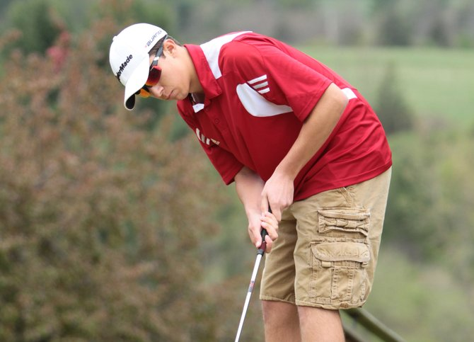 Dylan Scozzafava won his match as Moriah downed Ticonderoga, 5 1/2 - 1/2, in Champlain Valley Athletic Conference golf action May 2.