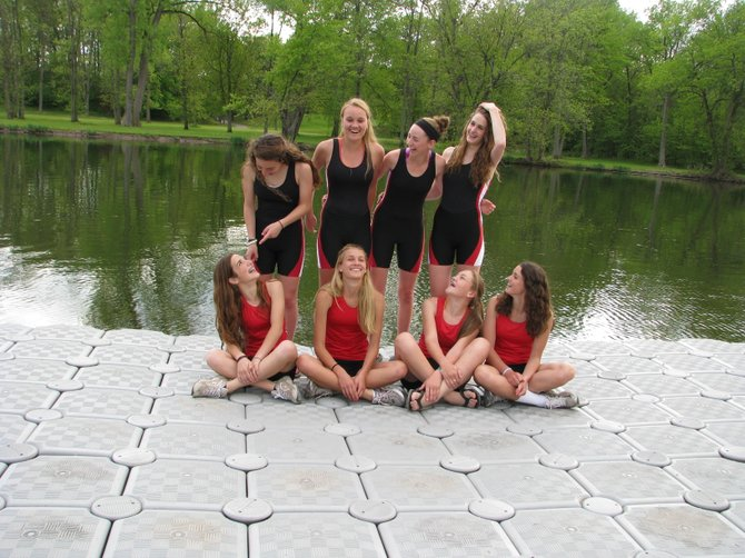 The 2012 Baldwinsville Girls Crew team consists of eight sisters. In front are JV Novice teammates Grace Bianchetti, 15, left, Morgan Starczewski, 15, Kristen Mohr, 16, and Abby May, 13. Standing are Varsity sisters Maria Teresa Bianchetti, 18, Meredith Starczewski, 18, Erin Mohr, 17, and Amanda May, 15.