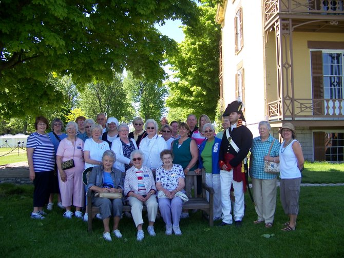 The Betsy Baldwin Chapter of the Daughters of the American Revolution during the Baldwinsville organization's recent visit to Sackets Harbor.