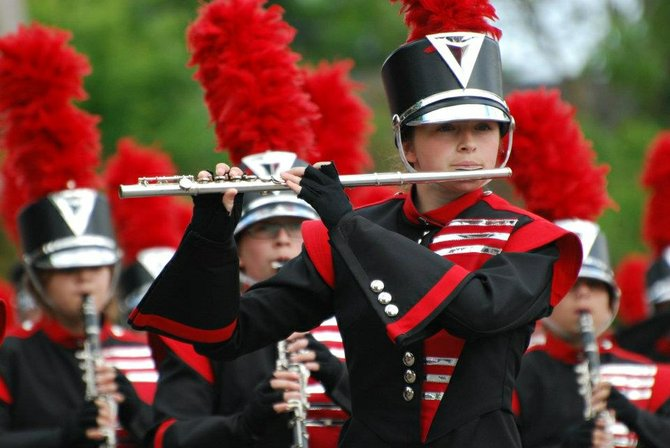 Baldwinsville Marching Band member Carina Scalise performs flute during the 51st Annual Gorham Pageant of Bands held June 1 and 2.