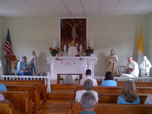 Mass at St. Mary's Oratory in the hamlet of Irishtown.