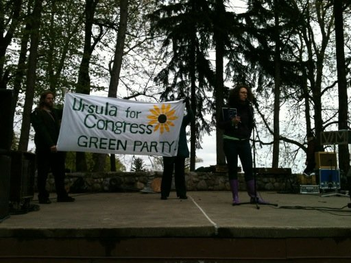 Ursula Rozum, Green Party candidate for the 24th District congressional seat, speaks on Earth Day at a rally.
